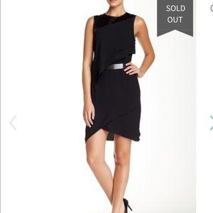 Halston heritage Asymmetric Tiered Drape Dress